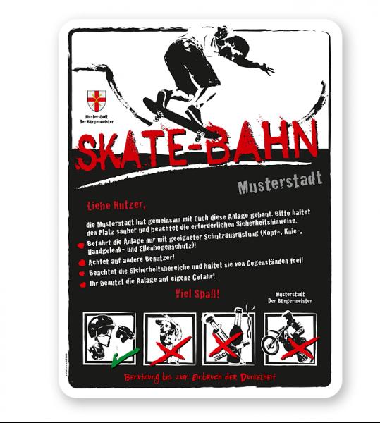 Spielplatzschild Skate-Bahn 4P-weiß - DS