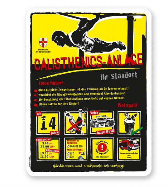 Spielplatzschild Calisthenics-Anlage 8P-gelb - DS