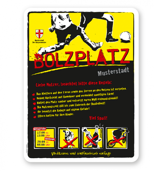 Bolzplatzschild Bolzplatz 4P-gelb - DS