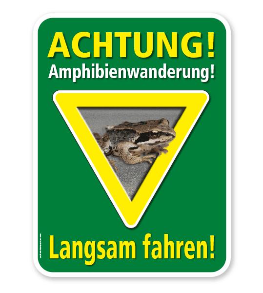 Tierschutzschild Achtung, Amphibienwanderung. Langsam fahren – G/GW