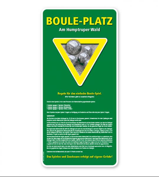 Schild Bouleplatz – mit Spielregeln – G/GW