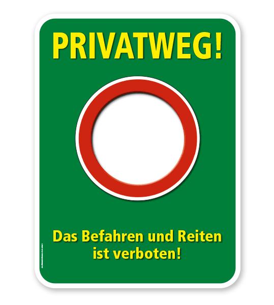Schild Privatweg. Das Befahren und Reiten ist verboten – G/GW