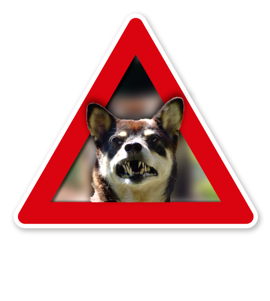 Verkehrsschild Achtung, bissiger Hund