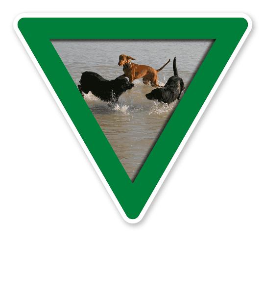 Verkehrsschild Vorsicht, Hundebadestelle - Hundeplatz (grün)