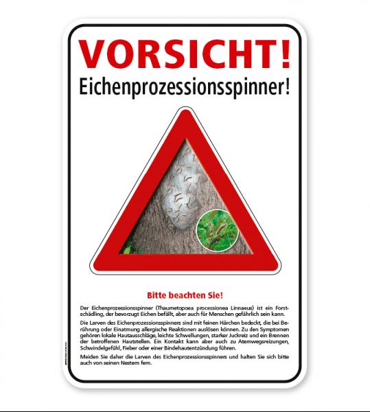 Warnschild Vorsicht, Eichenprozessionsspinner – G/GW