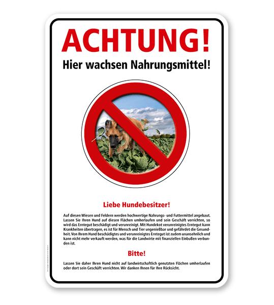 Warnschild Achtung, hier wachsen Nahrungsmittel - mit Hinweisen – G/GW
