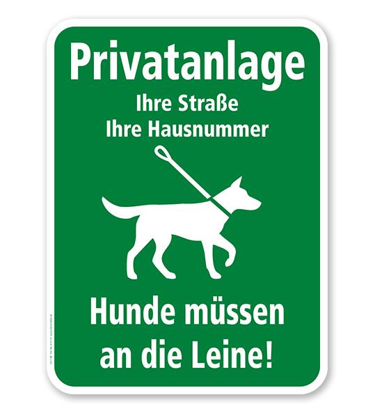 Hundeschild Privatanlage - Hunde müssen an die Leine - H