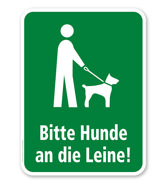 Hundeschild Bitte Hunde an die Leine - H