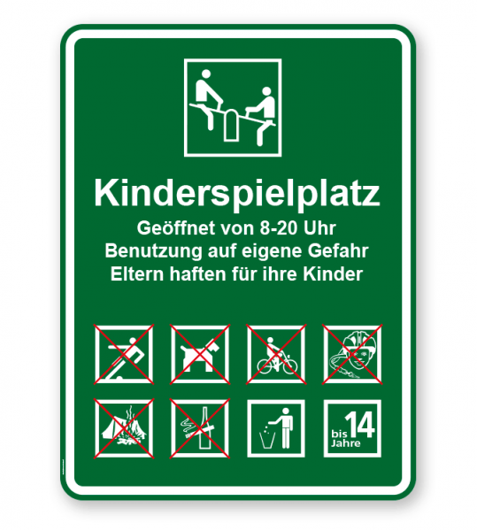 Spielplatzschild Kinderspielplatz 8P - 2 - KSP-3