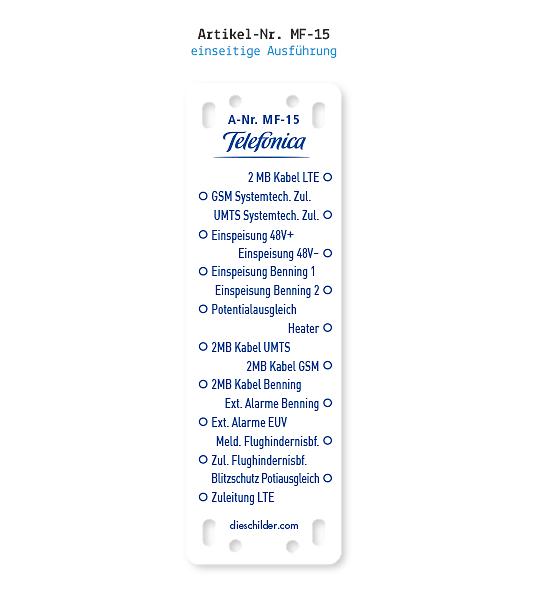Kennzeichnung von Mobilfunkanlagen - Telefonica MF-15