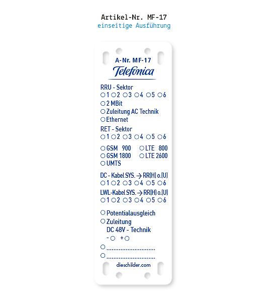 Kennzeichnung von Mobilfunkanlagen - Telefonica MF-17