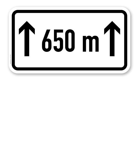 Zusatzschild Auf ... m/km - individuelle Entfernungsangabe – Verkehrsschild VZ 1001-30