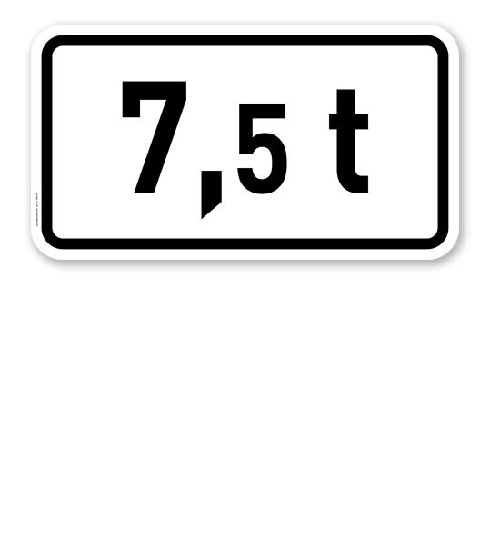 Zusatzschild Angabe der zulässigen Gesamtmasse 7,5 t oder individuelle Angabe – Verkehrsschild VZ 1053-33