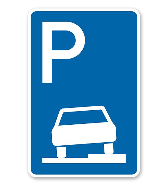 Parkplatzschild Parken halb auf Gehwegen - VZ 315-55