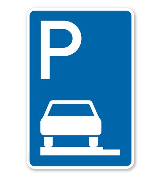 Parkplatzschild Parken ganz auf Gehwegen - VZ 315-60