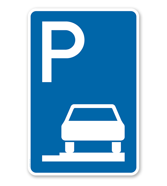 Parkplatzschild Parken ganz auf Gehwegen - VZ 315-65