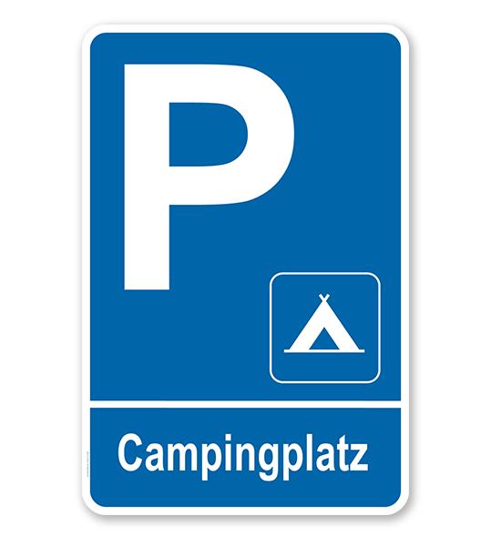 Parkplatzschild Campingplatz – P