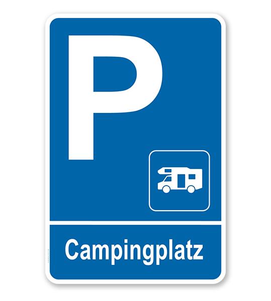 Parkplatzschild Campingplatz - Wohnmobil – P