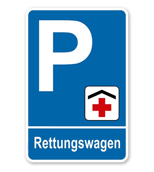 Parkplatzschild - Rettungswagen – P
