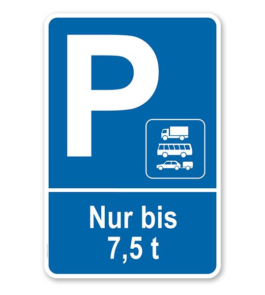 Parkplatzschild Nur PKW, Busse und PKW mit Anhänger bis 7,5 t – P