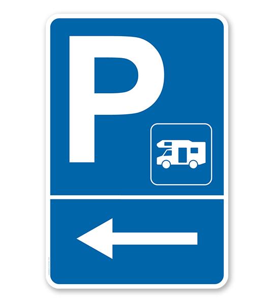 Parkplatzschild Wohnmobile links abbiegen – P