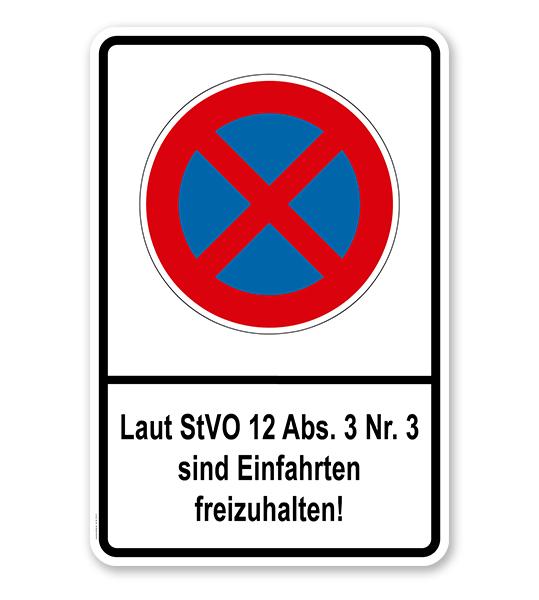 Absolutes Halteverbot - Laut StVO 12 Abs. 3 Nr. 3 sind Einfahrten freizuhalten