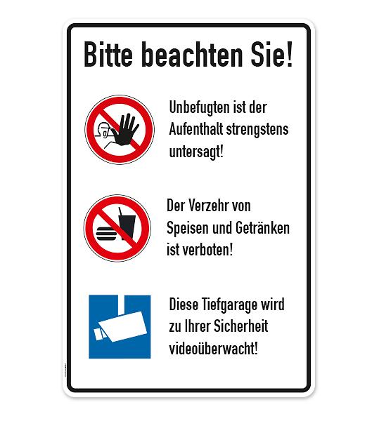 schild tiefgarage hinweise mit zeichen zutritt verboten essen verboten video berwachung. Black Bedroom Furniture Sets. Home Design Ideas