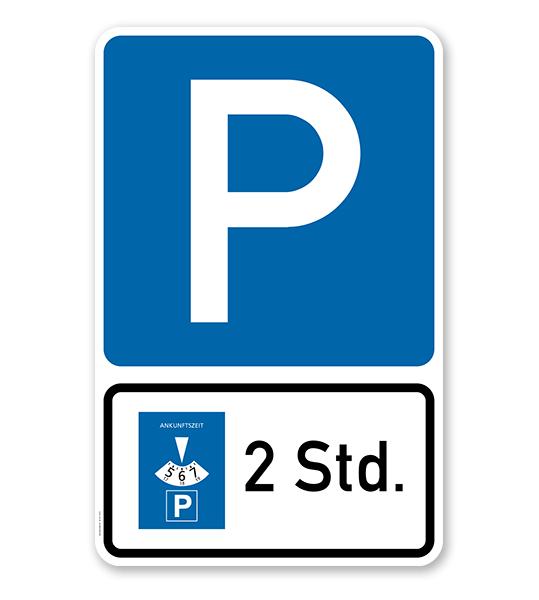 Parkplatzschild Parksymbol mit Zusatzschild - Kombination - P