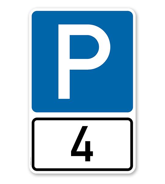 Parkplatzschild Parksymbol mit indiv. Nummerierung - Kombination - P