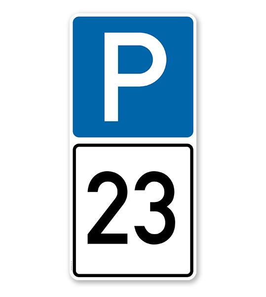 Parkplatzschild Parksymbol mit indiv. Nummerierung 2 - Kombination - P