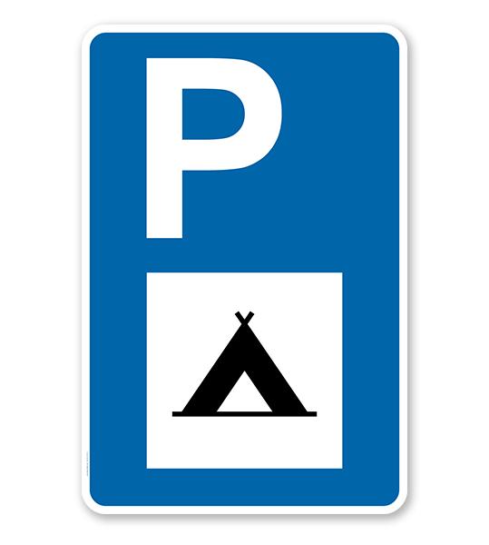 Parkplatzschild - Camping - mit Campingsymbol – P
