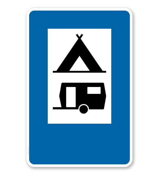 Parkplatzschild - Camping Wohnwagen - Zeichen VZ 365-60 – P