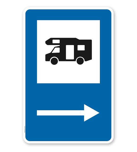 Parkplatzschild - Camping Wohnmobil - Pfeil rechts - mit Wohnmobilsymbol – P