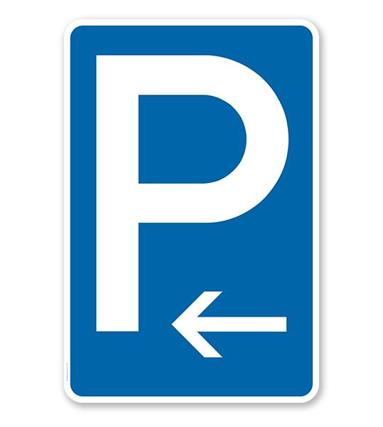 Parkplatzschild mit Pfeil linksweisend – P