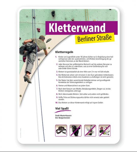 Schild Kletterwand / Kletterpark - Regeln 4P - PV