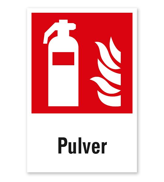 Brandschutzzeichen Feuerlöscher Pulver nach DIN EN ISO 7010 - F 001 - Kombi