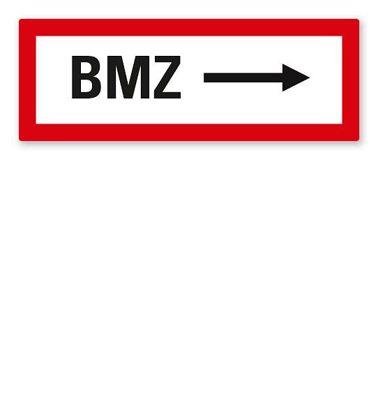 Brandschutzschild BMZ - rechtsweisend nach DIN 4066