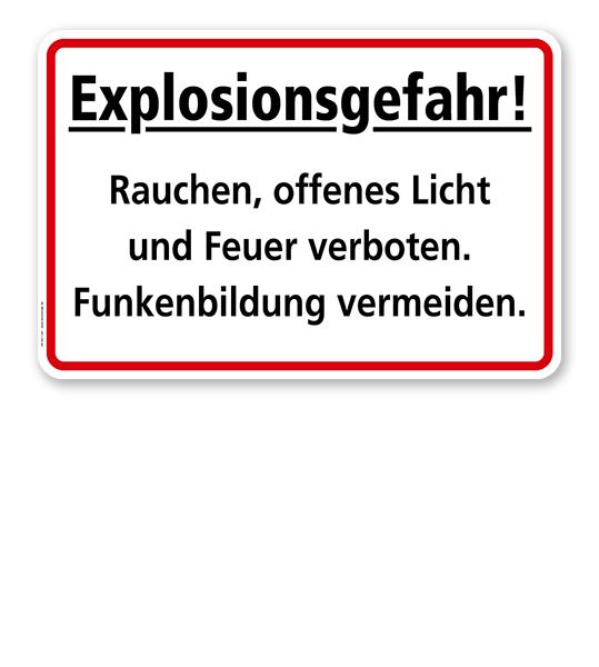 Explosionsgefahr! Rauchen, offenes Licht und Feuer verboten. Funkenbildung vermeiden