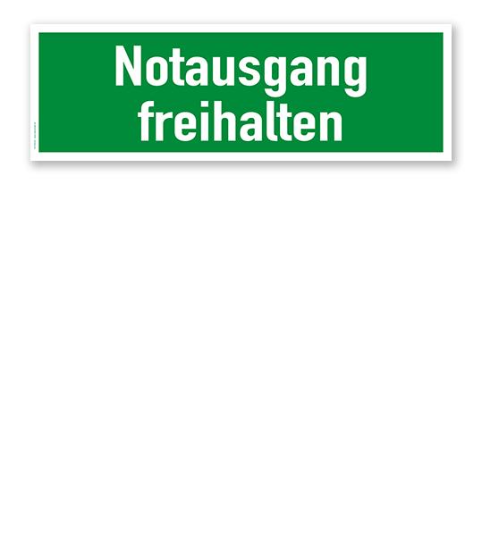 Fluchtwegschild / Rettungsschild Notausgang freihalten