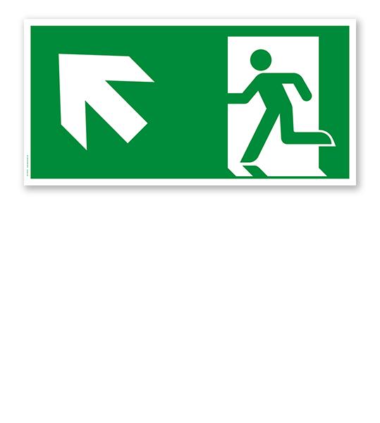 Fluchtwegschild Rettungsweg links aufwärts nach DIN EN ISO 7010 - E 001-3