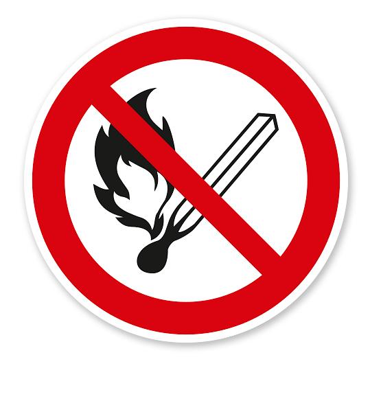 Verbotszeichen Feuer, offenes Licht und Rauchen verboten nach DIN EN ISO 7010 - P 003
