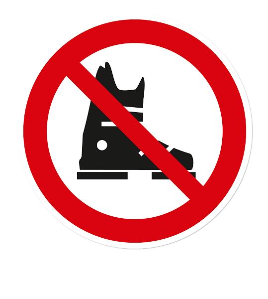 Verbotszeichen Keine Skischuhe erlaubt