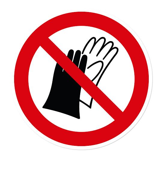Verbotszeichen Benutzen von Handschuhen verboten nach DIN EN ISO 7010 - P 028