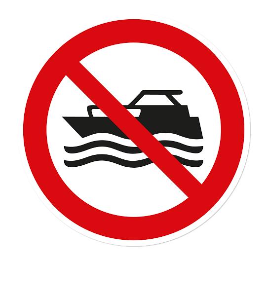 Verbotszeichen Maschinengetriebene Boote verboten nach DIN ISO 20712 - WSP009