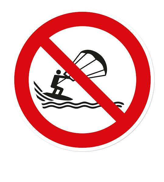 Verbotszeichen Kitesurfen verboten nach DIN ISO 20712 - WSP018