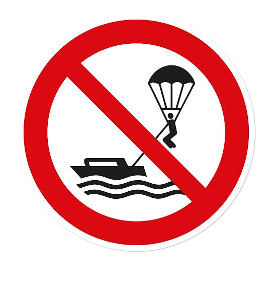 Verbotszeichen Parasailing verboten nach DIN ISO 20712 - WSP019