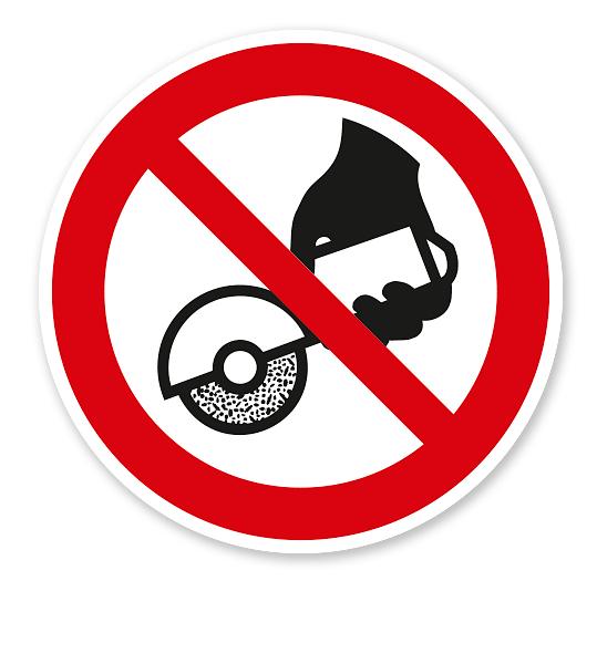 Verbotszeichen Nicht zulässig für Freihand- und handgeführtes Schleifen nach DIN EN ISO 7010 - P 034