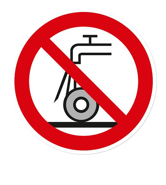 Verbotszeichen Nicht zulässig für Nassschleifen nach DIN EN ISO 7010 - P 033