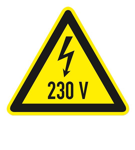 Warnzeichen Warnung vor 230 V