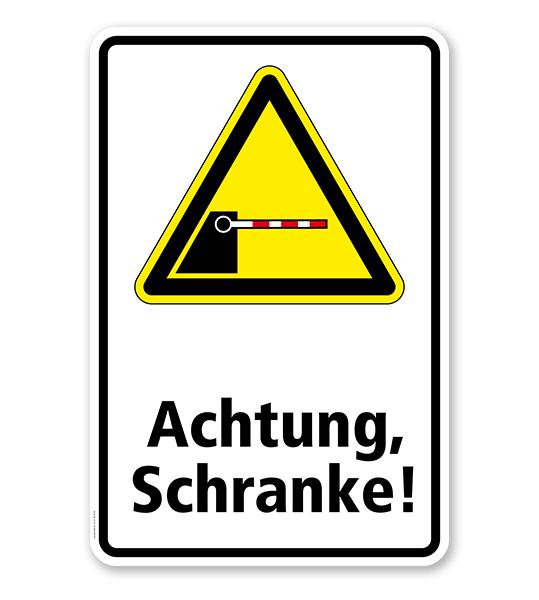 Warnschild Achtung, Schranke!